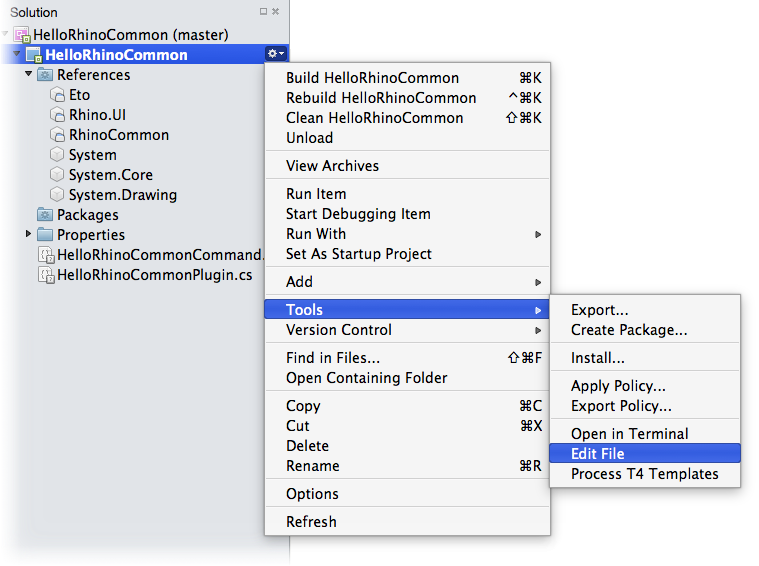 Visual Studio for Mac Edit File